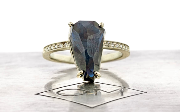 6.25 Carat Avalon Blue Sapphire Ring in White Gold