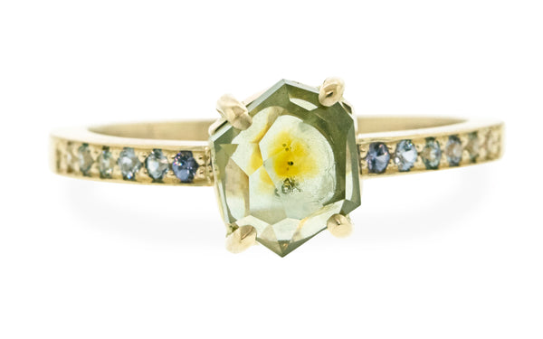 1.78 Carat Citrus Mist Green/Yellow Montana Sapphire Ring in Yellow Gold