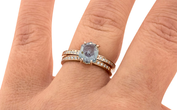 2.07 Carat Hand Cut Watercolor Blue Montana Sapphire Ring in Rose Gold
