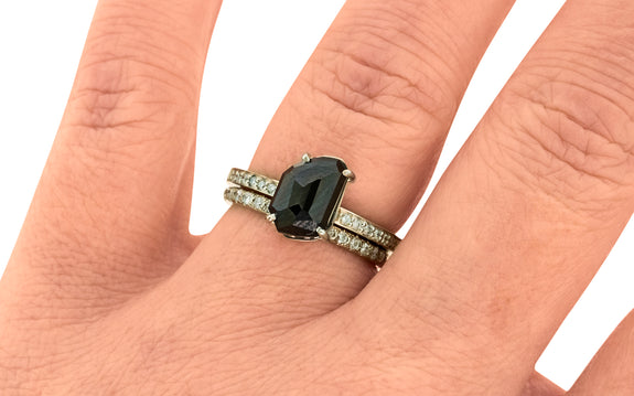 2.72 Carat Hand Cut Twilight Blue Sapphire Ring in White Gold