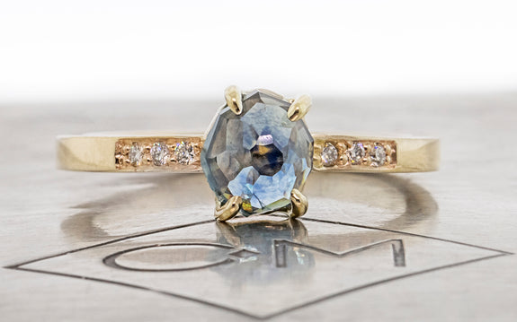 1.17 Carat Cloud Cover Blue Montana Sapphire Ring in Yellow Gold