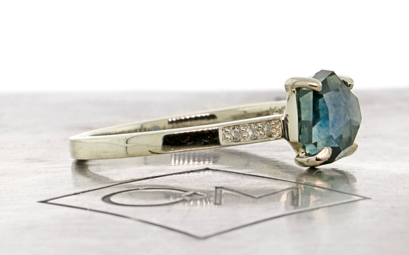 1.50 Carat Waterdrop Blue Hand-Cut Montana Sapphire Ring in White Gold
