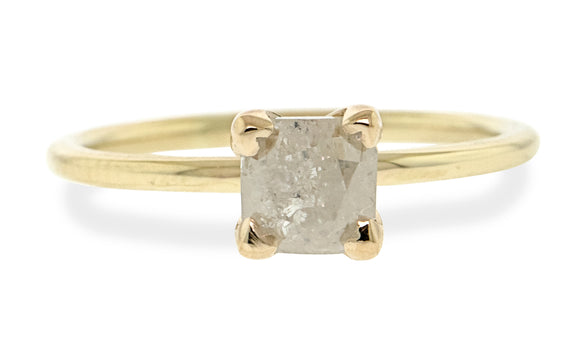 1.36 carat icy white diamond set in 14 karat yellow gold front view on white background