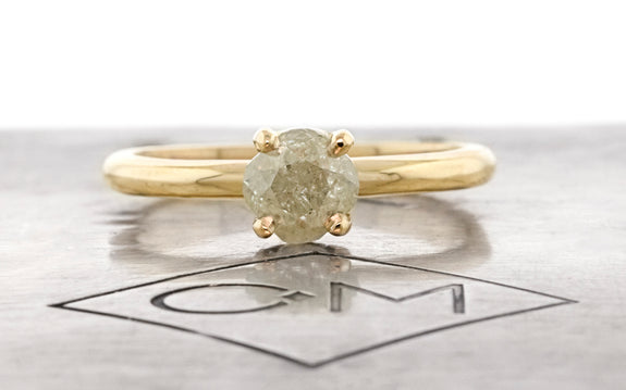 1.22 Carat Icy Gray Diamond Ring in Yellow Gold