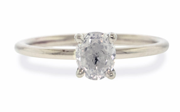 1.06 Carat Icy Salt & Pepper Diamond Ring in White Gold