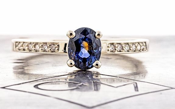 1.19 Carat Riviera Blue Sapphire Ring in White Gold