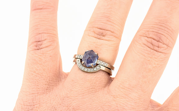 1.89 Carat Hand-Cut Spring Rain Blue Montana Sapphire Ring in White Gold