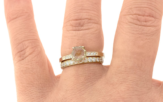 1.22 Carat Hand-Cut Pale Yellow Montana Sapphire Ring in Yellow Gold