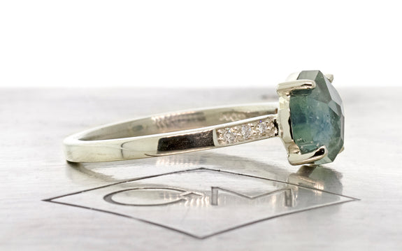 1.71 Carat Hand-Cut Delft Blue Montana Sapphire Ring in White Gold