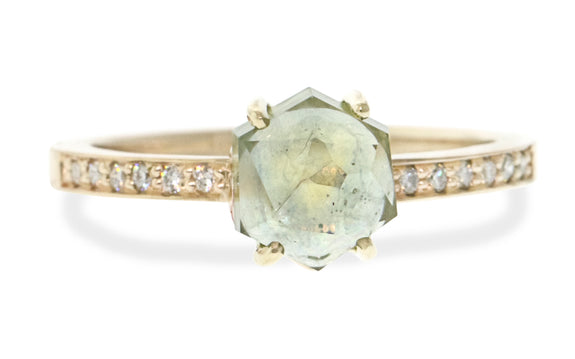 1.77 Carat Hand-Cut Honeydew Yellow/Green Montana Sapphire Ring in Yellow Gold