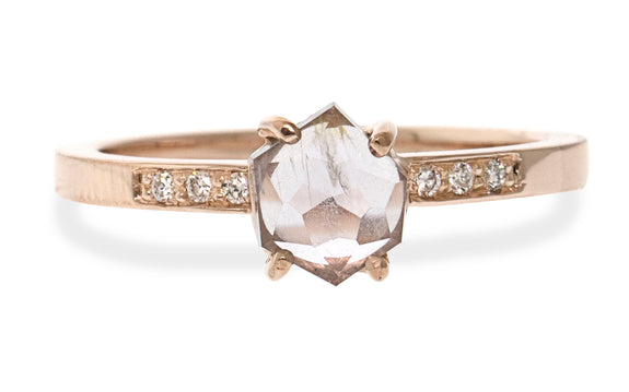 .96 Carat Hand-Cut Rosemist Pink Montana Sapphire Ring in Rose Gold
