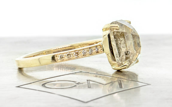 3.38 Carat Sparkling Salt & Pepper Diamond Ring in Yellow Gold