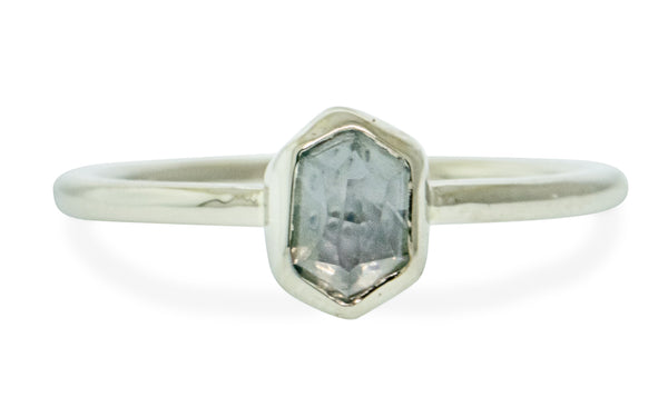 .84 Carat Hand-Cut Misty Rain Blue Montana Sapphire Ring in White Gold