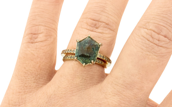 5.28 Carat Double-Cut Stardew Teal Montana Sapphire Ring in Yellow Gold