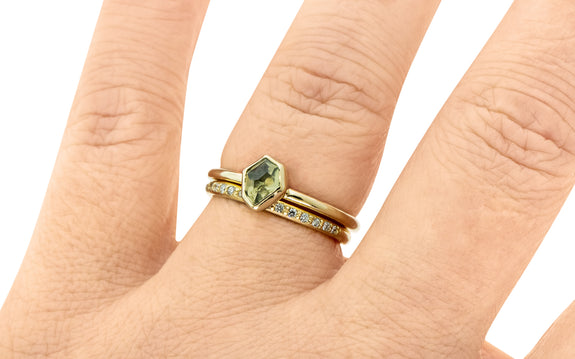 .78 Carat Hand-Cut Dusted Olive Montana Sapphire Ring in Yellow Gold