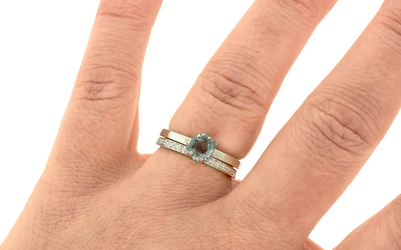 .86 Carat Hand-Cut Coastline Blue Montana Sapphire Ring in White Gold