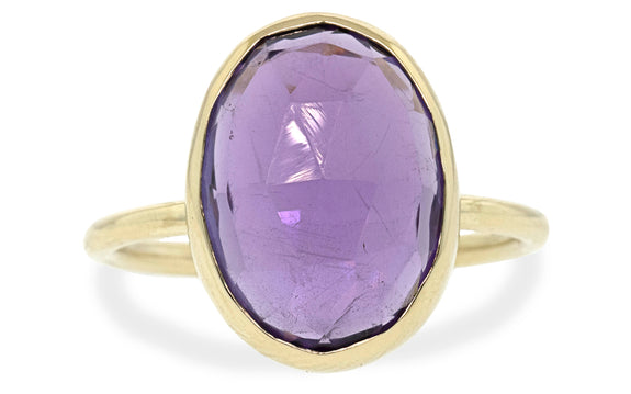 5.94 Carat Wisteria Purple Amethyst Ring in Yellow Gold