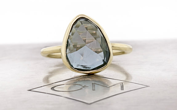 4.20 Carat Blue Topaz Ring in Yellow Gold