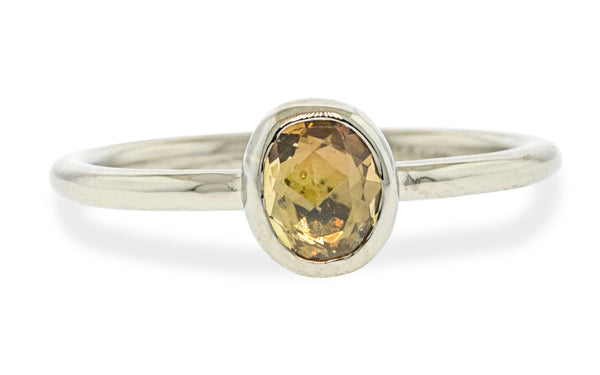 .72 Hand-Cut Tupelo Honey Sapphire Ring in White Gold