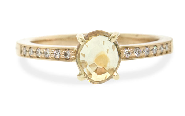 1.17 Carat Hand-Cut Lemon Ice Montana Sapphire Ring in Yellow Gold