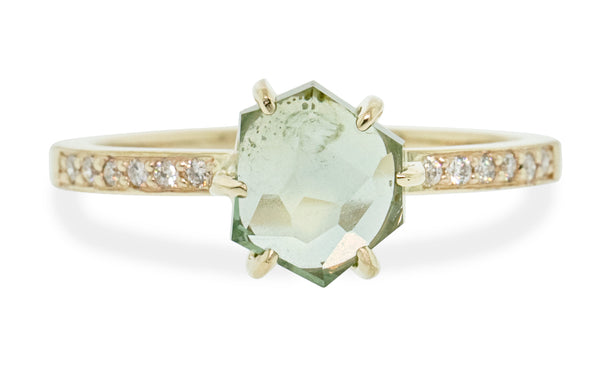 1.83 Carat Hand-Cut Seafoam Montana Sapphire Ring in Yellow Gold
