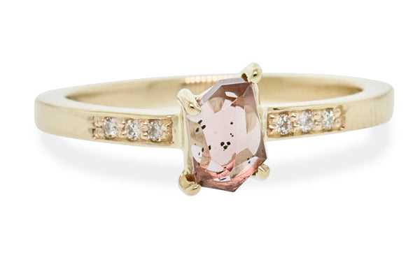 .80 Carat Hand-Cut Rosy Pink Sapphire Ring in Yellow Gold