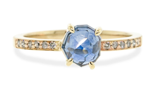 1.35 Carat Hand-Cut Celestial Blue Montana Sapphire Ring in Yellow Gold