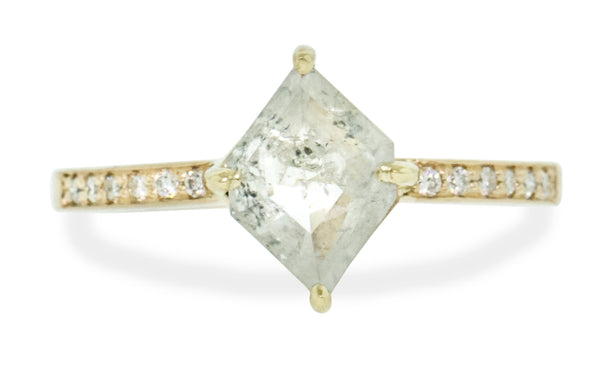 1.36 Carat Icy Salt & Pepper Diamond Ring in Yellow Gold