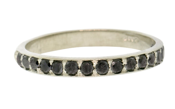 Wedding Band with 16 Black 2mm Diamonds