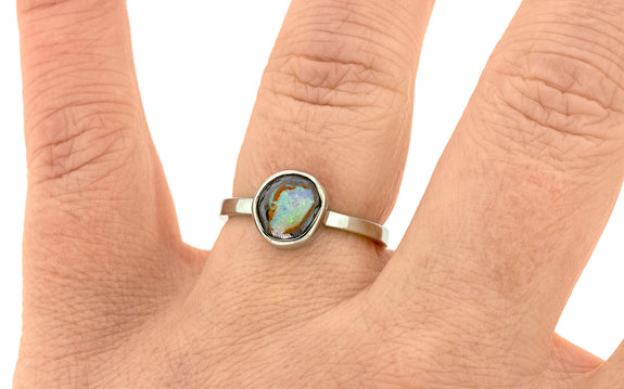 1.80 Carat Boulder Opal Ring in White Gold
