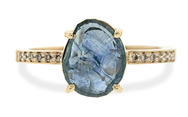 3.04 Hand-Cut Mountain Mist Blue Montana Sapphire Ring in Yellow Gold