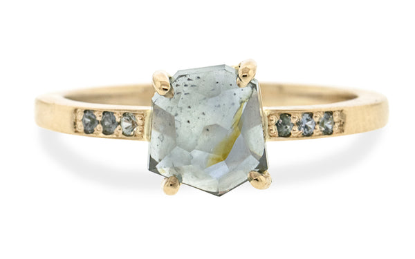 2.35 Carat Hand-Cut Moonlit Blue Montana Sapphire Ring in Yellow Gold