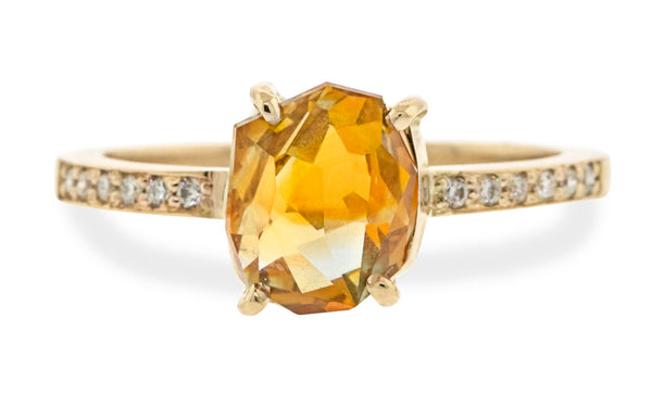 2.69 Carat Double-Cut Saffron Orange Montana Sapphire Ring in Yellow Gold