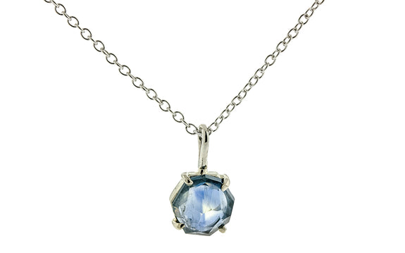 1.84 Carat Montana Sapphire Necklace in White Gold