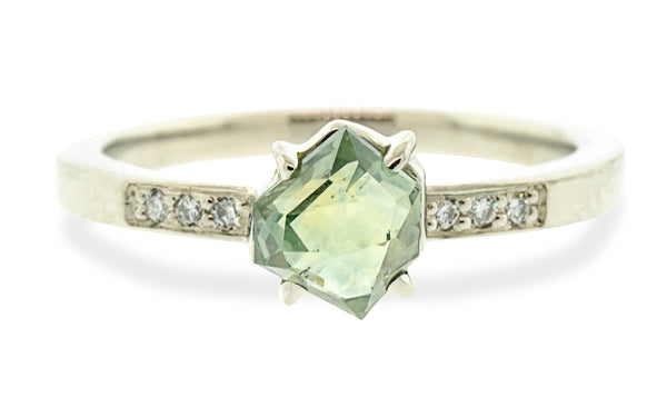 1.36 Carat Double-Cut Water Lily Green Montana Sapphire Ring in White Gold