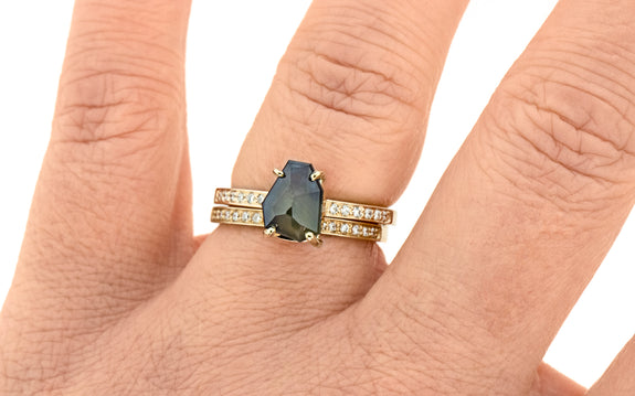 2.44 Carat Hand-Cut Mystic Blue Montana Sapphire Ring in Yellow Gold