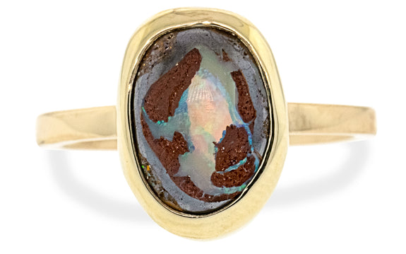 4.00 Carat Boulder Opal Ring in Yellow Gold