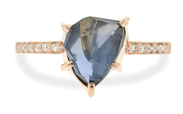 2.58 Carat Hand-Cut Nocturne Blue Sapphire Ring in Rose Gold