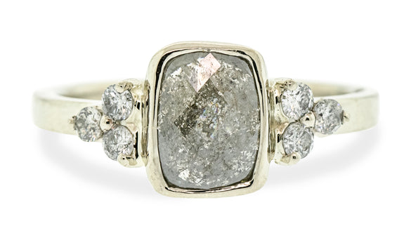 .97 Carat Rustic Gray Diamond Ring in White Gold