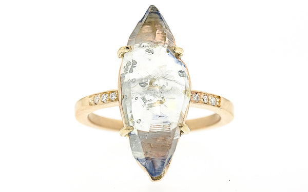 8.4 Carat Hand-Cut Icy White Sapphire Ring in Yellow Gold