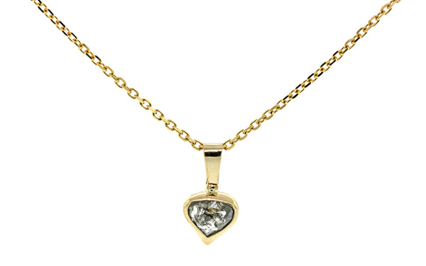 .95 carat sparkling salt and pepper diamond necklace in 14 karat yellow gold with 18 inch 14 karat yellow gold chain front view on white background