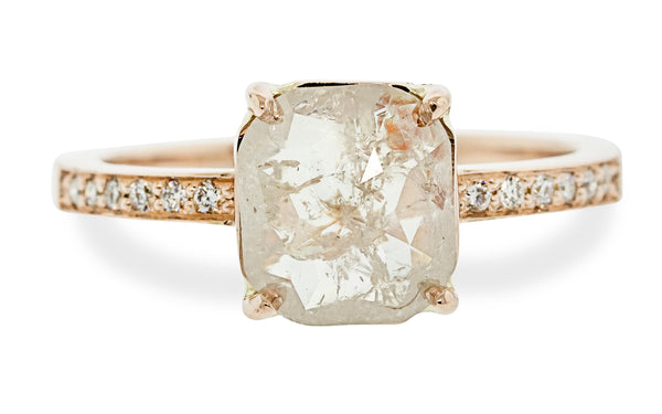 1.95 Carat Icy Peach Diamond Ring in Rose Gold