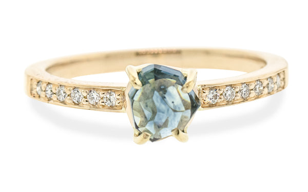 .92 Carat Hand-Cut Rainfall Blue Montana Sapphire Ring in Yellow Gold