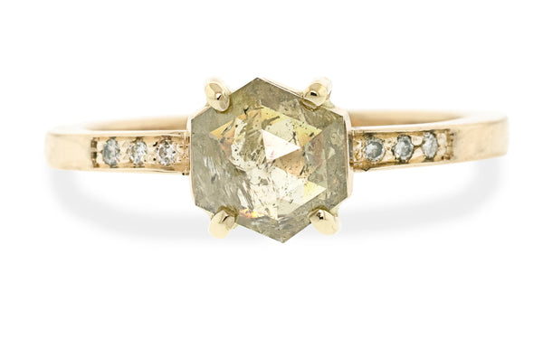 1.36 carat hexagon champagne diamond ring in 14 karat yellow gold with three champagne pavé diamonds on each shoulder front view on white background