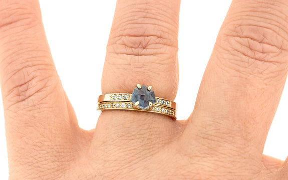 1.17 Carat Hand-Cut Ecliptic Blue Montana Sapphire Ring in Yellow Gold