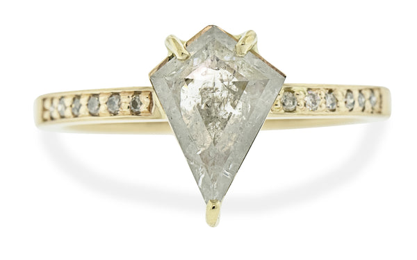 1.12 Carat Icy Salt and Pepper Kite Diamond Ring in Yellow Gold