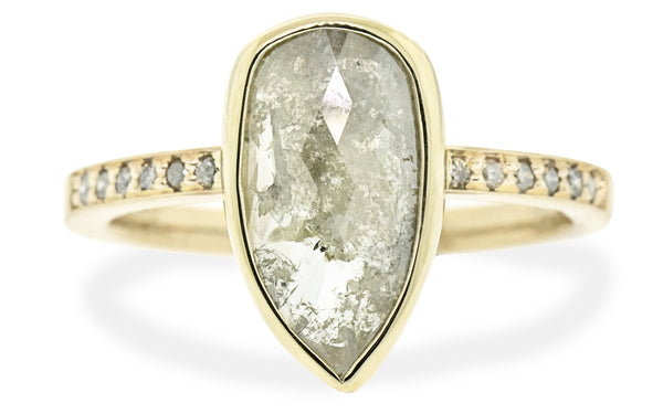1.41 Carat Rustic Salt & Pepper Diamond Ring in Yellow Gold