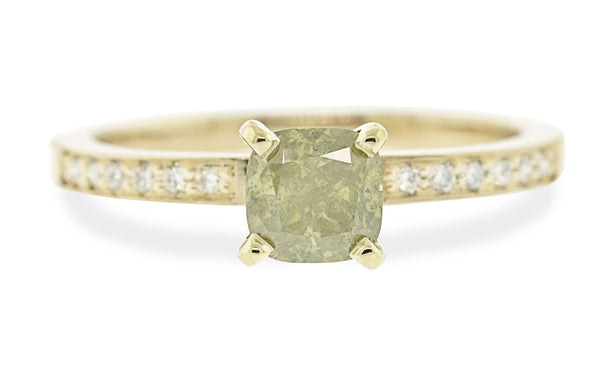 .78 Carat Rustic Champagne Diamond Ring in Yellow Gold