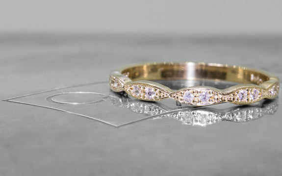 Scalloped Wedding Band with White Diamonds front view