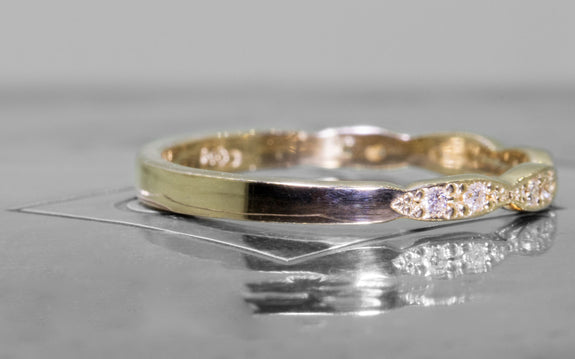 Scalloped Wedding Band with White Diamonds front view on logo